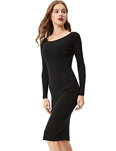 42994edf485 GLOSTORY-Womens-Long-Sleeve-Slim-Fit-Bodycon-Pullover-Sweater-Dresses-2616