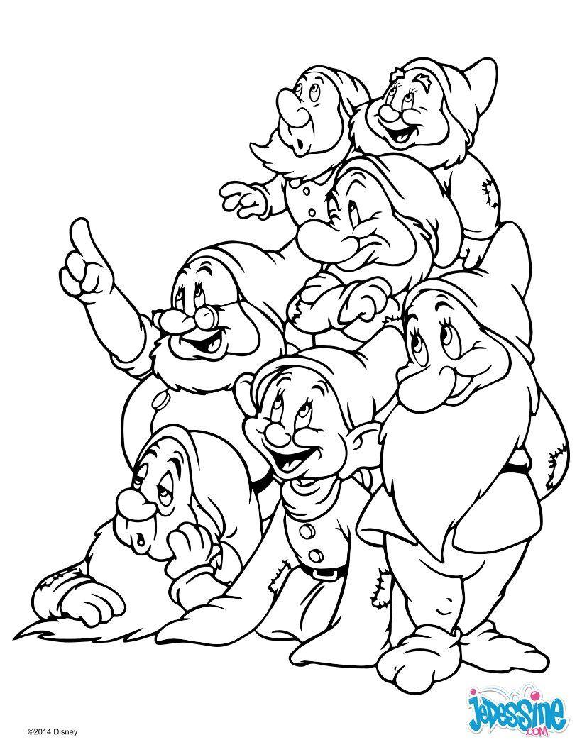 Un beau coloriage des 7 nains du conte de Blanche Neige. Un coloriage parfait pour tous les fans ...
