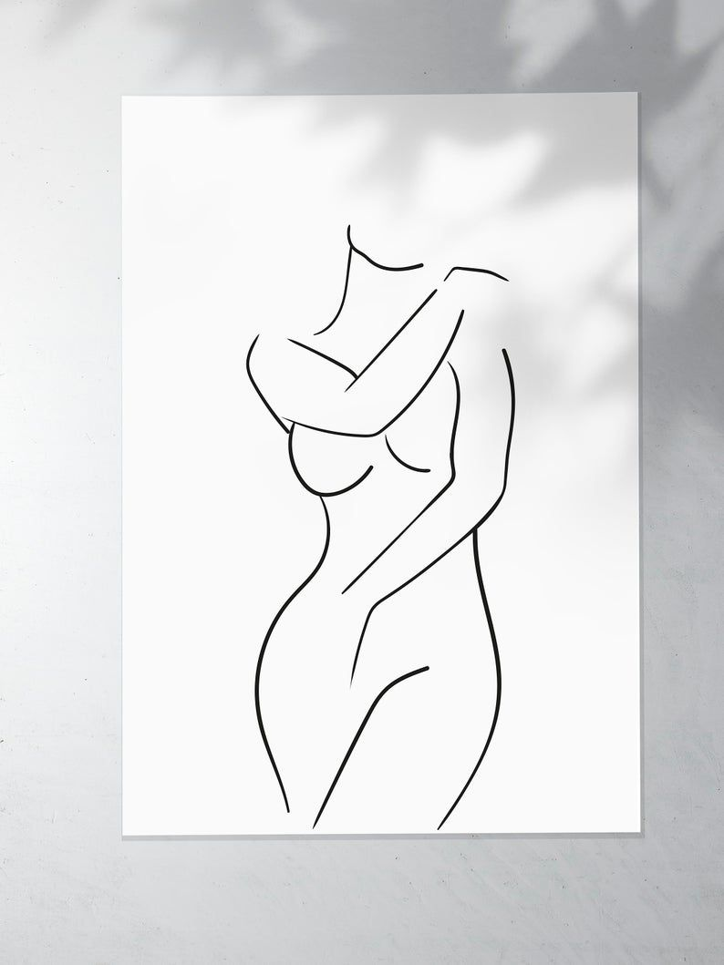 Set of 2 print, Abstract Woman Body Line Drawing PRINTABLE, Female Nudity, tumblr room decor, Naked girls, line illustration, Minimalist Art