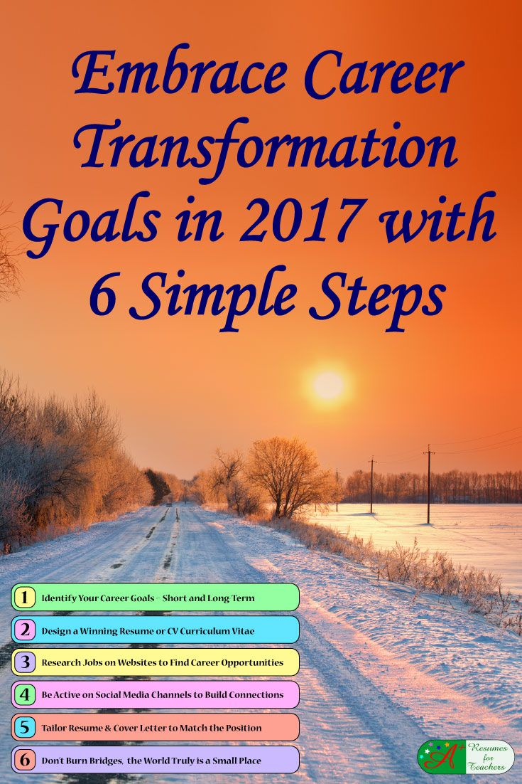 Higher Education Resume Embrace Career Transformation Goals In 2017 With 6 Simple Steps .