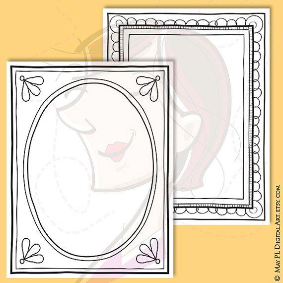 Page Borders Digital Doodle Frames 8x11 Hand Drawn Clip Art Pencil ...