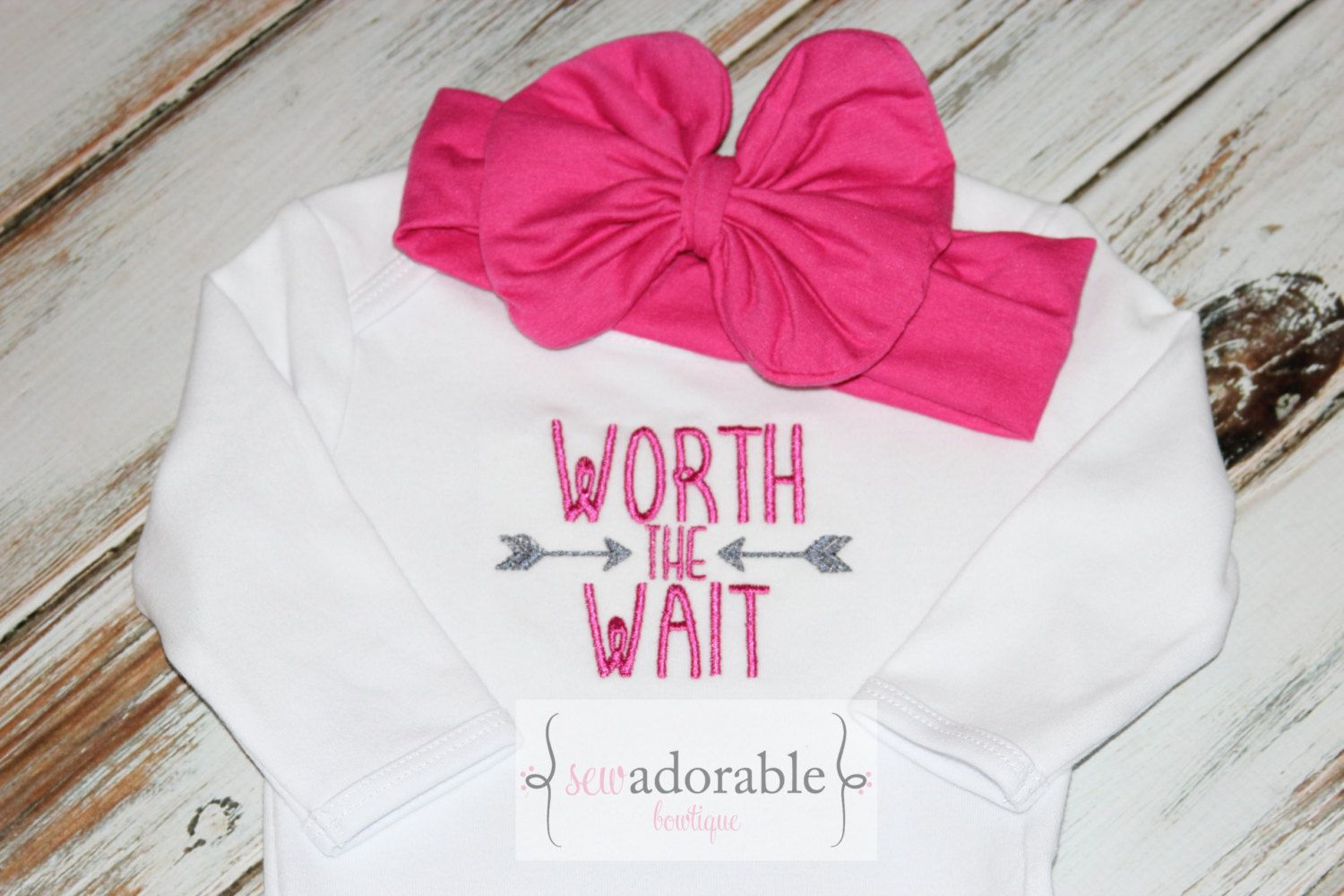 Worth the Wait Baby Gown or Bodysuit, Coming Home Outfit, Rainbow Baby, Layette Baby Gown, Baby Shower Gift, Newborn Baby Girl Outfit by SewAdorableBowtique on Etsy