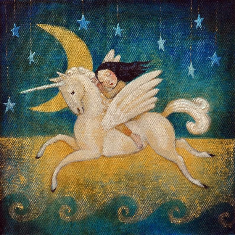 Lucy Campbell greetings card Golden Moon original   Etsy