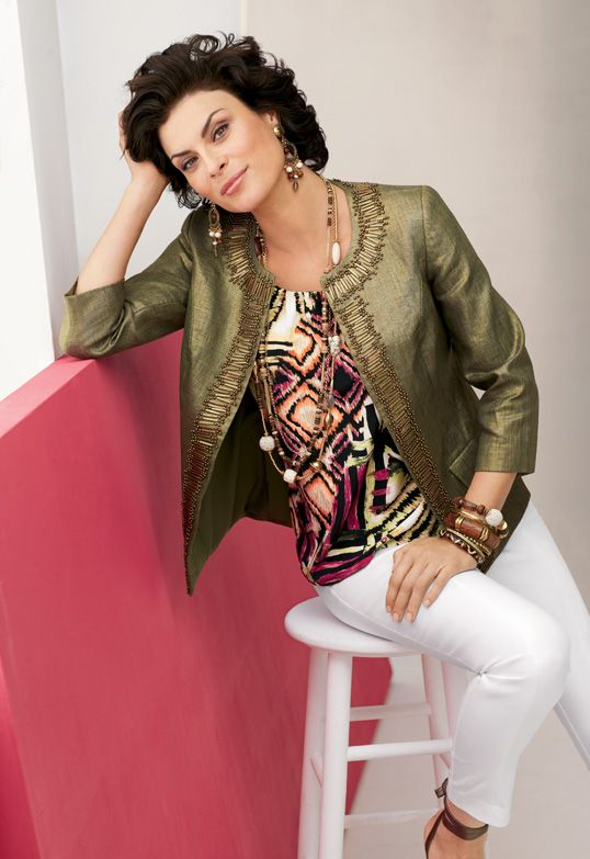 Linen Foil Embellished Jacket with Diamonds Tank #WildAbout30