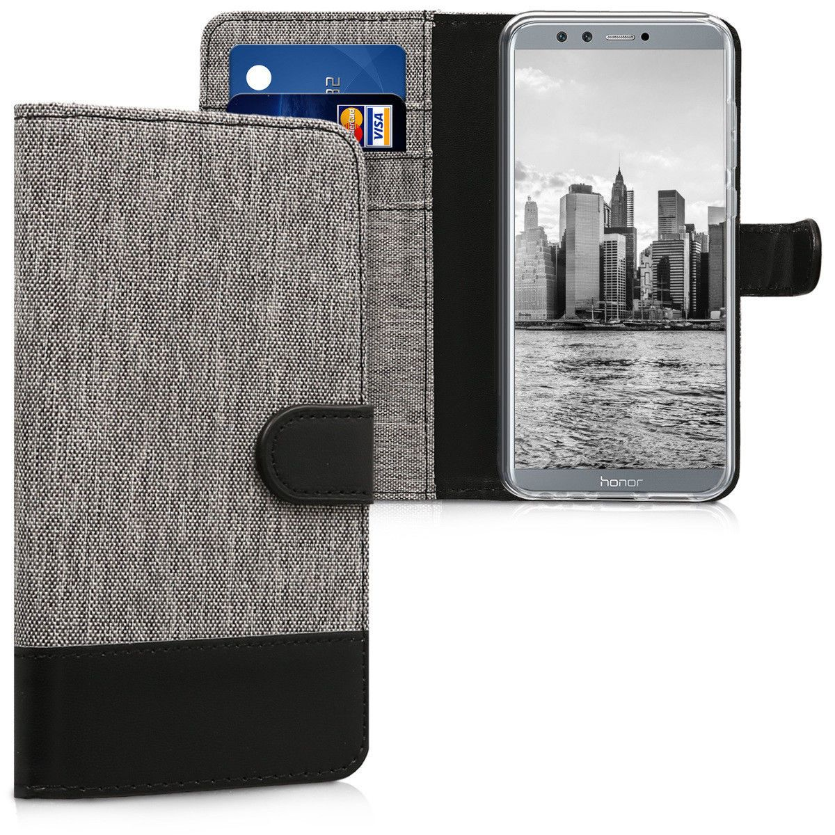 official photos 211f4 42e39 $9.4 - Fabric Wallet Protective Cover For Huawei Honor 9 Lite Grey ...
