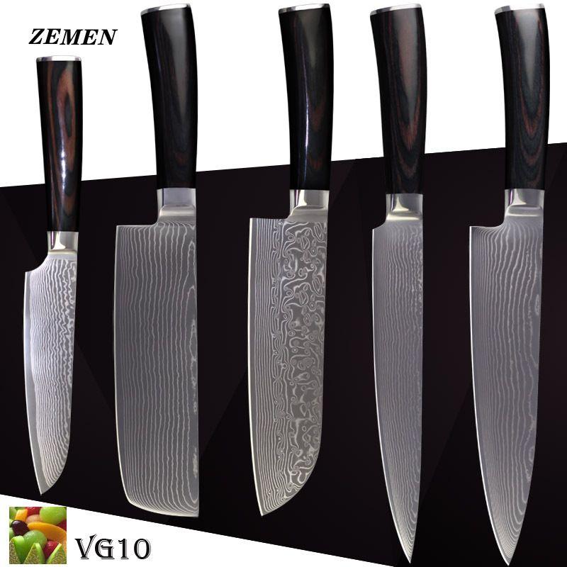 "ZEMEN damascus knives VG10 kitchen knives 8 inch chef slicing 7 inch Japanese cleaver knife 7"" 5"" santoku knife kitchen cooking."