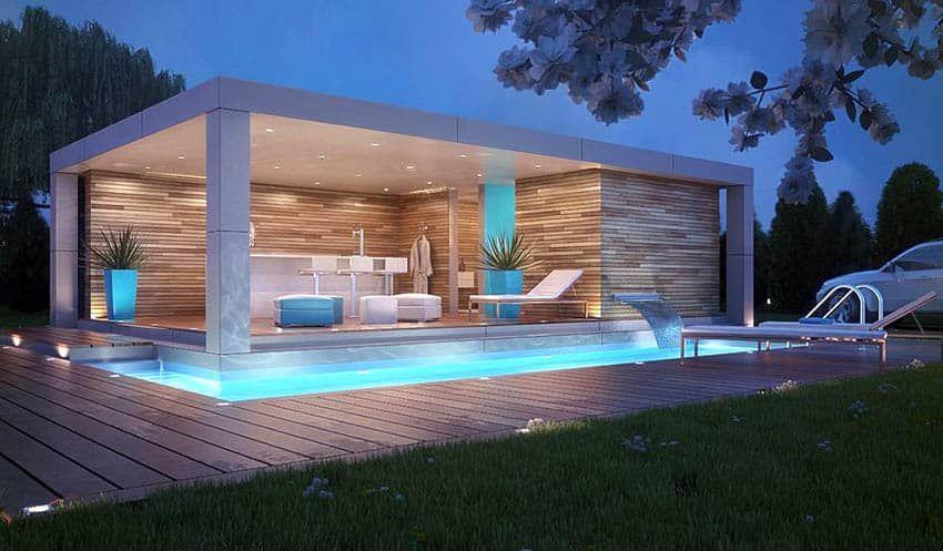 Swimming Pool Waterfalls Design Ideas Modern Pools Modern Pool House Pool House Design