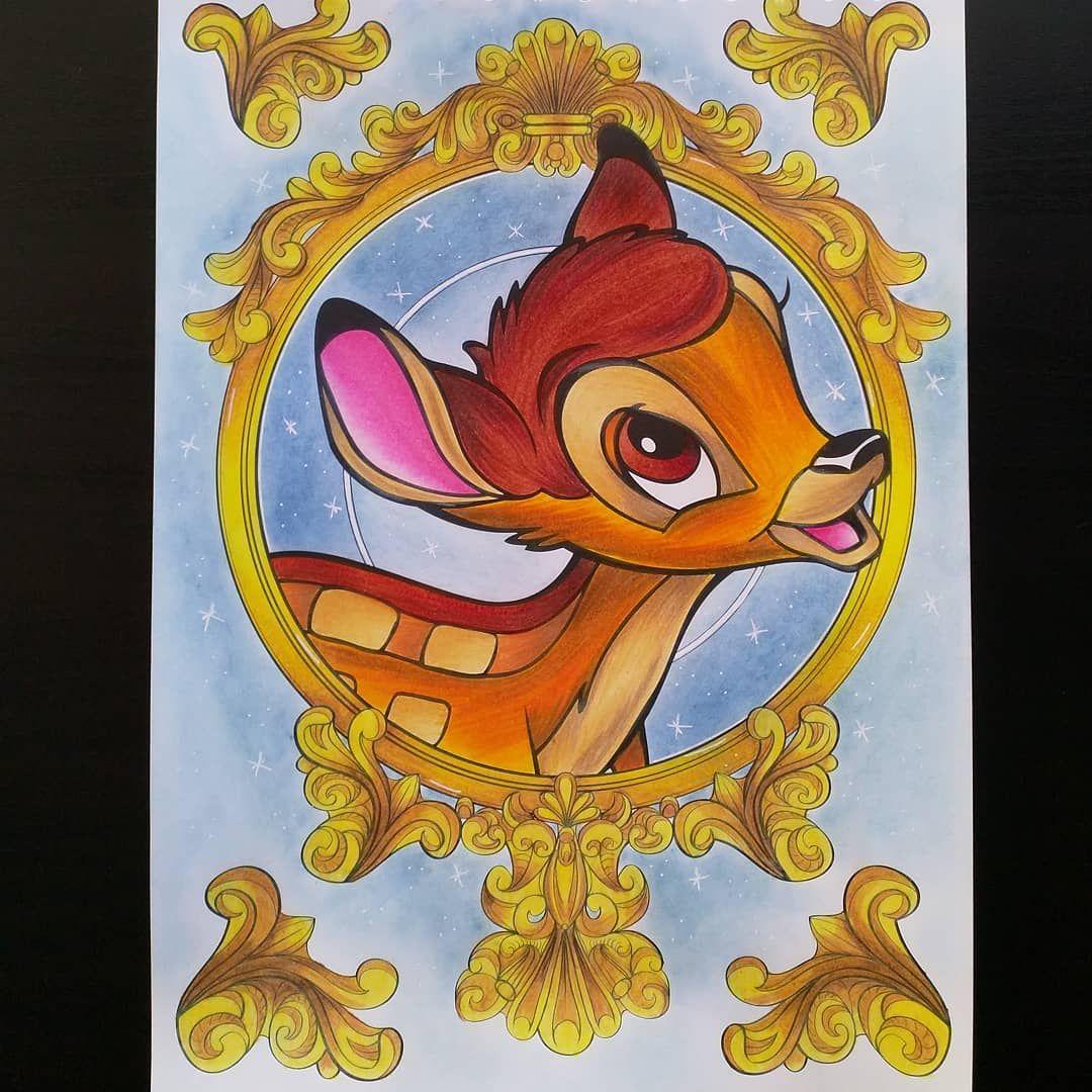 """Bambi 🌲, coloriage issu du livre """"Disney Portrait"""", aux éditions"""