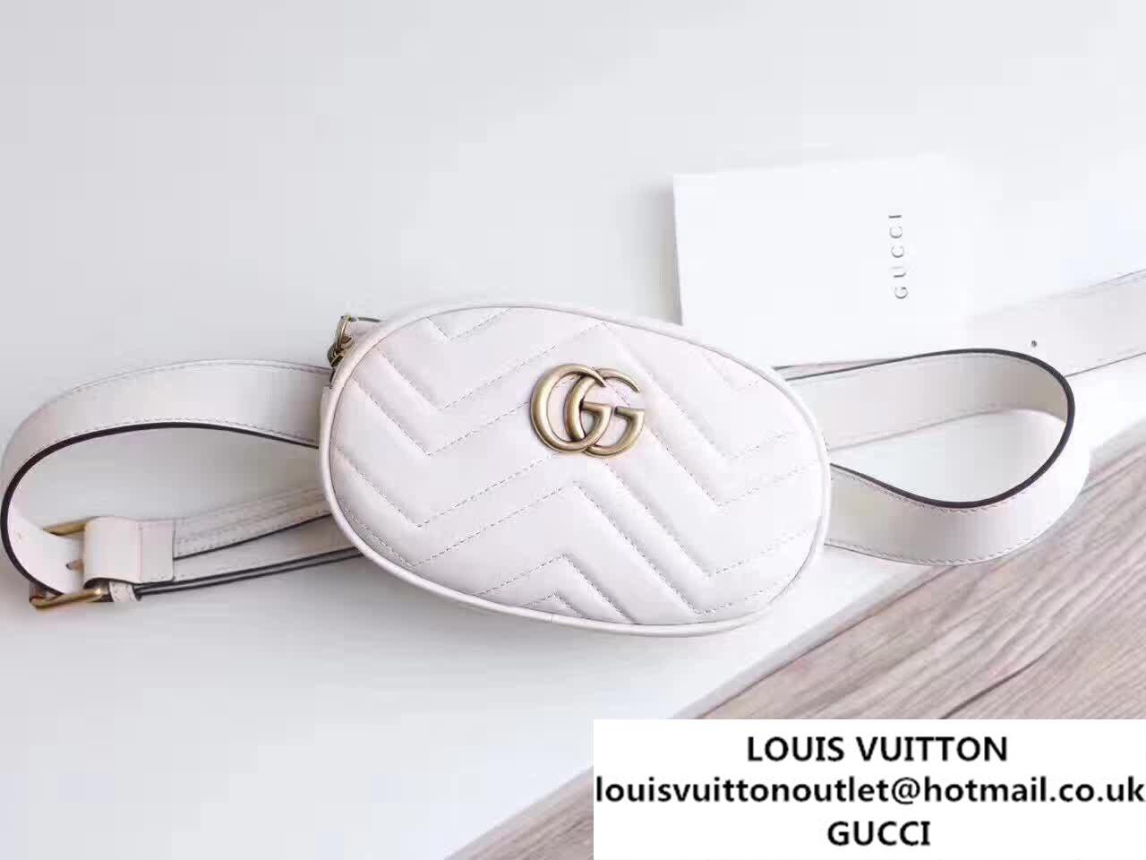 32346cbfaaff52 Gucci GG Marmont Matelasse Leather Belt Bag 476437 White 2017 ...