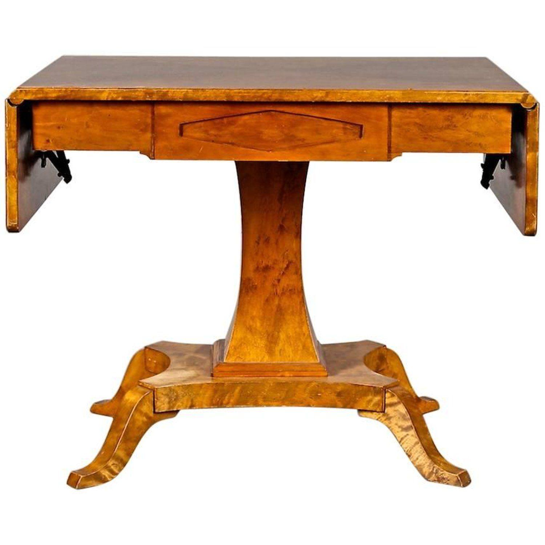 Biedermeier Swedish Drop Leaf Pedestal Table Golden Birch Inlaid Honey Colour Biedermeier Furniture Antique Drop Leaf Table Drop Leaf Table
