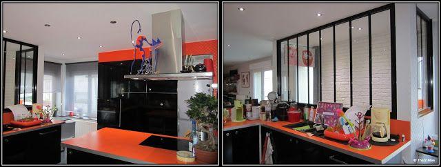 cuisine ikea meubles noirs plan de travail orange verrière armature