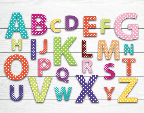 26 elements letters polka dots set digital clip art png transparent background files 300 dpi scrapbooking design elements january 2014 at