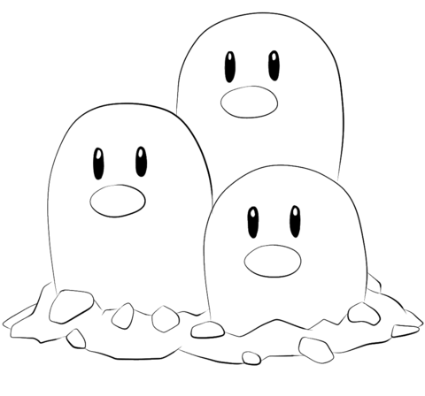 Click To See Printable Version Of Dugtrio Coloring Page