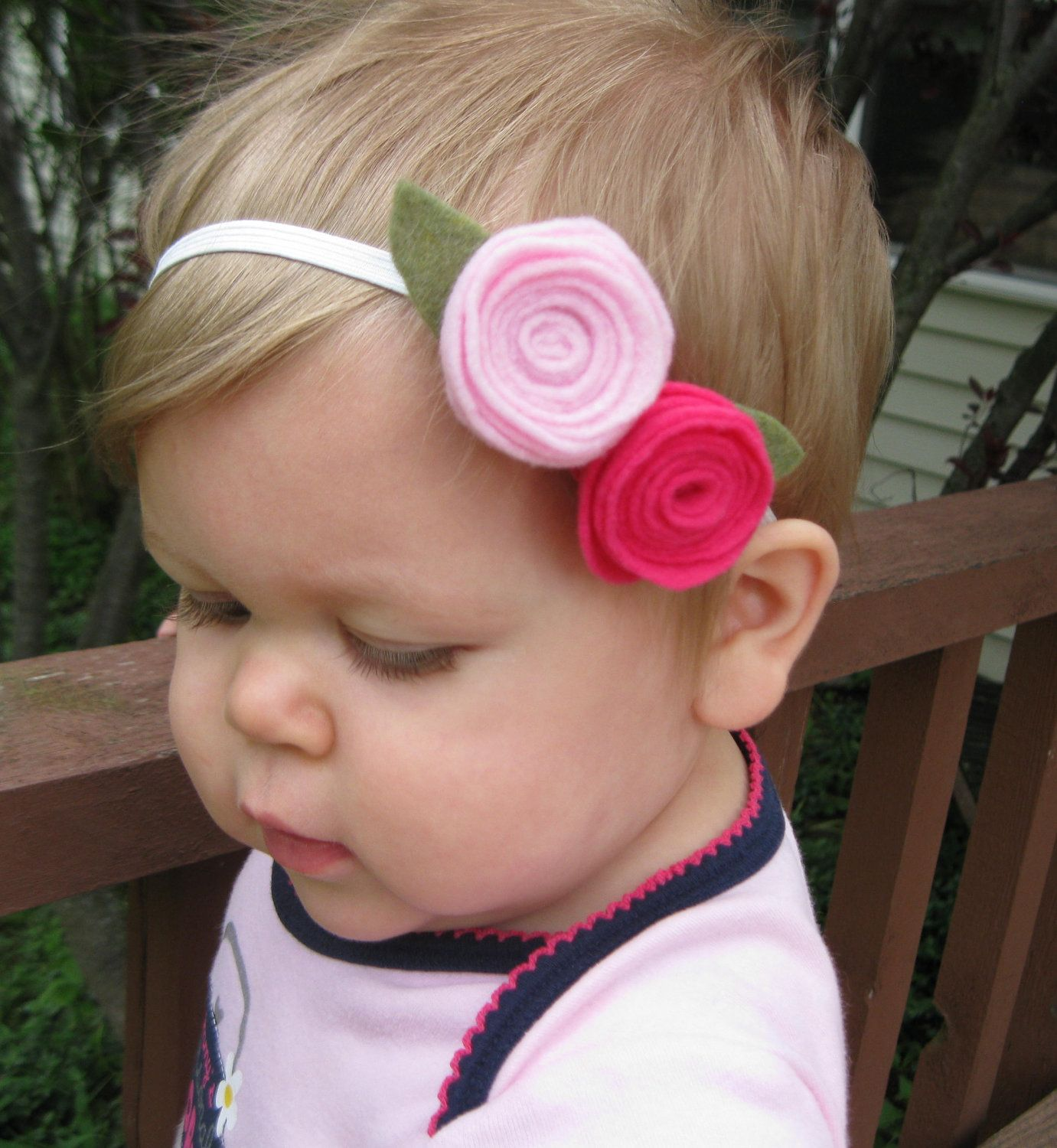 Pink Double Rosette Felt Flower Elastic Headband - Baby Girl, Toddler, Girl via Etsy.