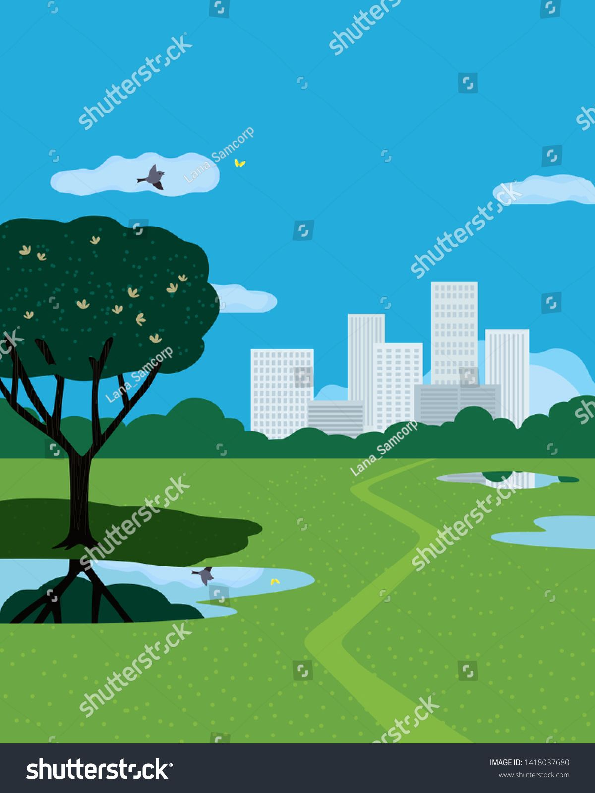 Summer City Park Flat Color Vector Poster Hand Drawn Green Grass Lawn Ponds In City Park Cartoon Illustration Color Vector Landscape Background Cartoon Park