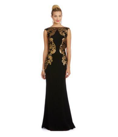 Shop for Tadashi Shoji Medallion Drape Back Gown at Dillards.com ...