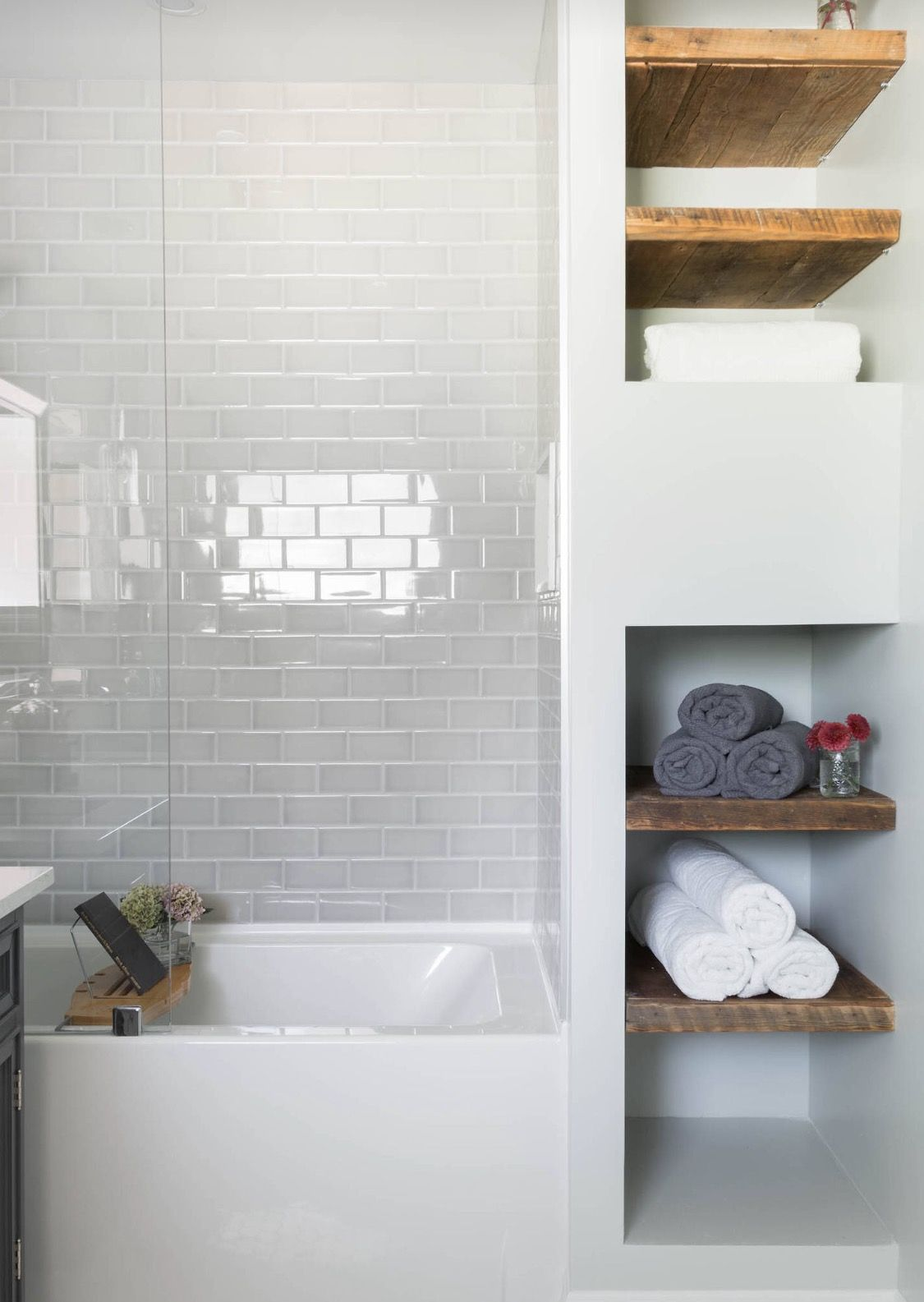 Put washer n dryer where shelves are, small shower, toilet on left ...