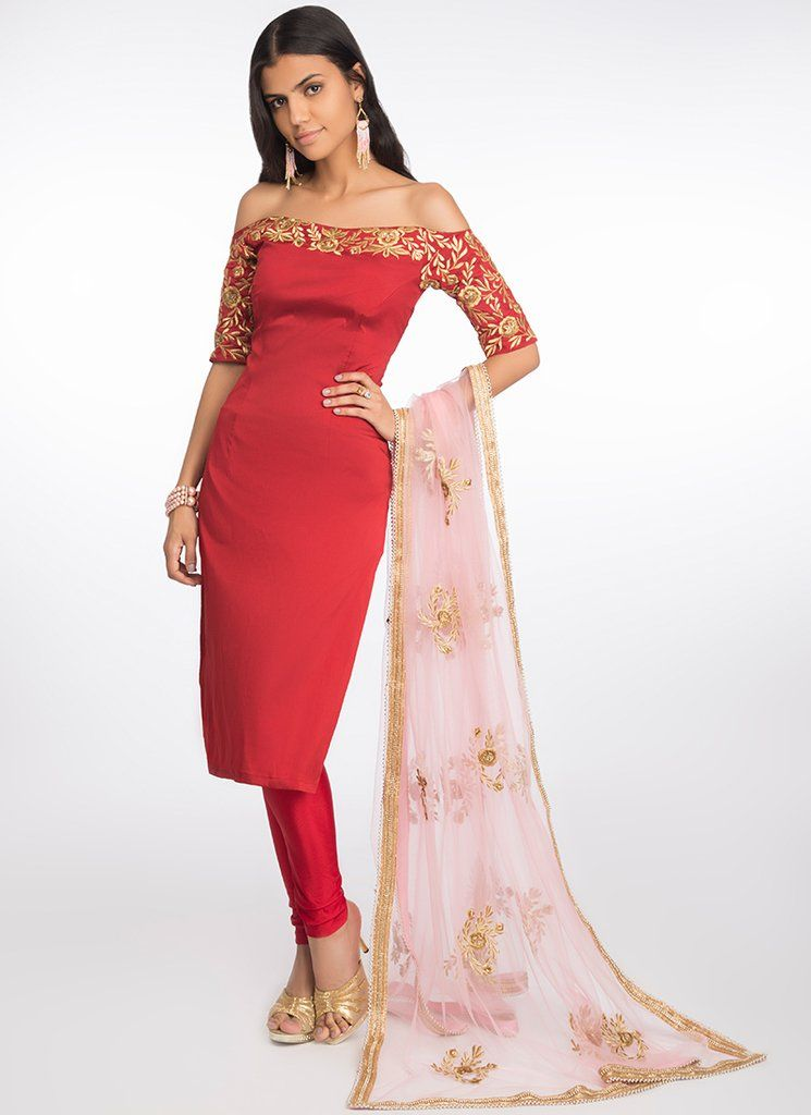 4998c05557 Red Off Shoulder Embroidered Straight Suit. Features a taffeta silk ...