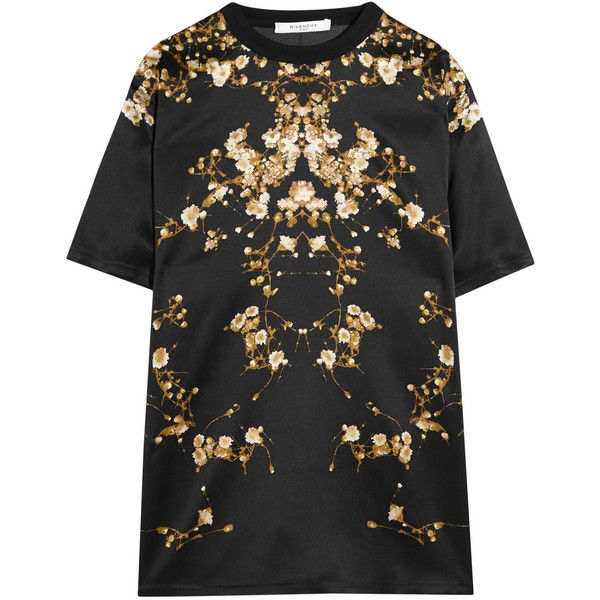 Givenchy Floral-print silk-satin T-shirt ($1,540) ❤ liked on
