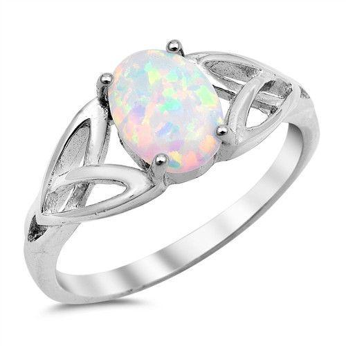 Australian Fire Opal Infinity Celtic Genuine Sterling Silver Birthstone Ring