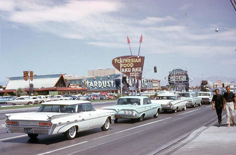 Line of white & blue in front of the Stardust, 1965 Old