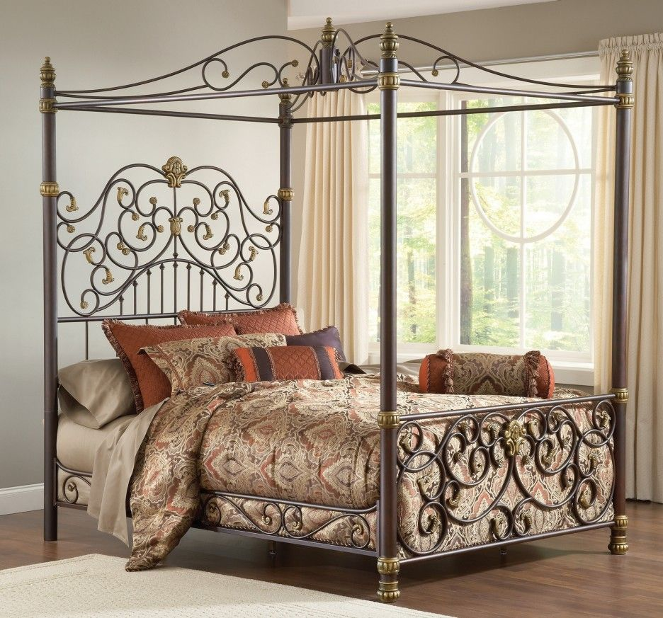 Classic Artistic Brown With Gold Accents Wrought Iron Canopy Bed Set Brown Satin Bedding Comforter With Arts Ac Iron Canopy Bed Iron Bed Frame Canopy Bed Frame