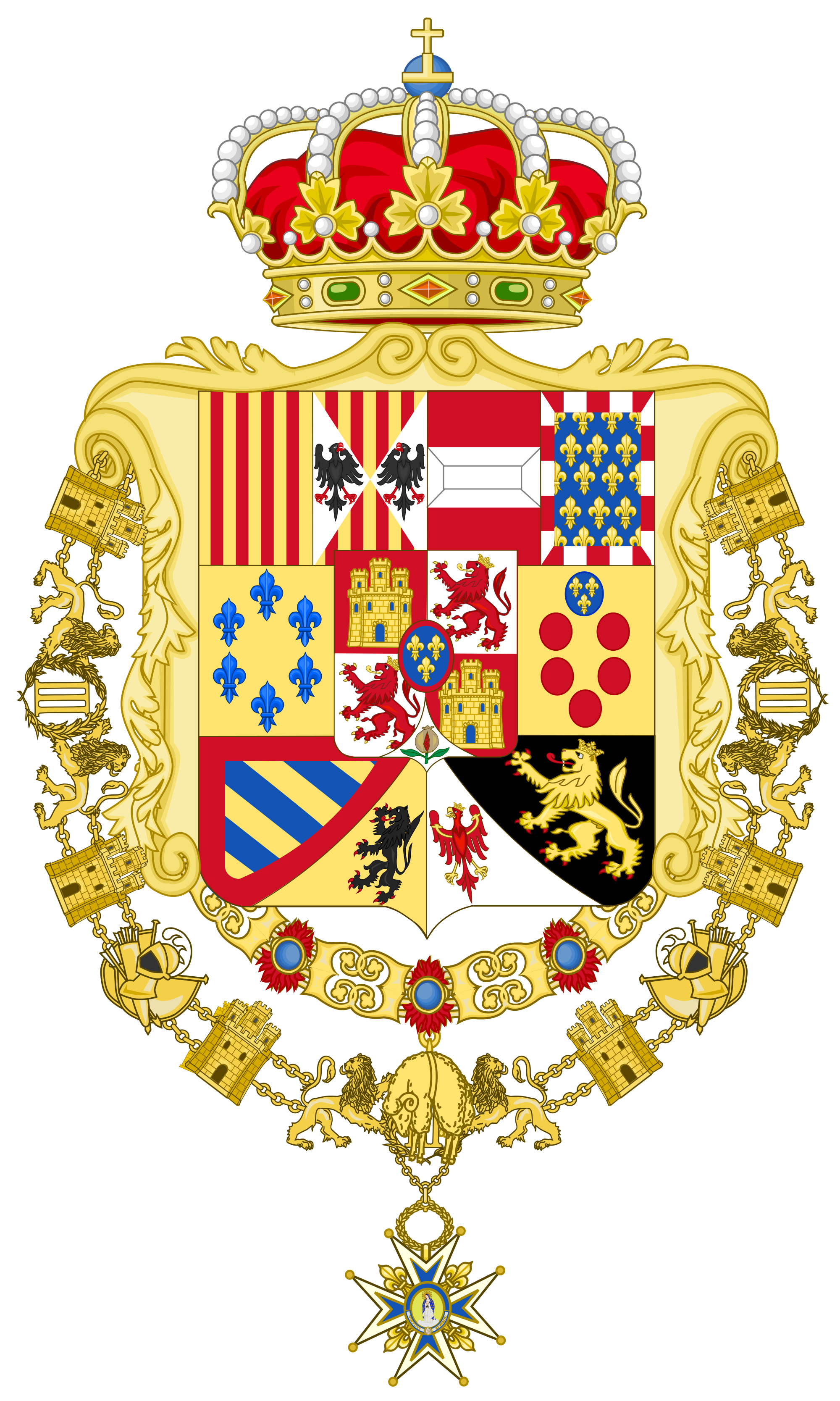 Royal greater coat of arms of spain 1761 1868 and 1874 1931 fileroyal greater coat of arms of spain and version with golden fleece and order of charles iii collars biocorpaavc Choice Image