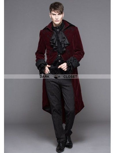 Devil Fashion Wine Red Gothic Palace Style Long Coat for Men ... c7a34653f5c8