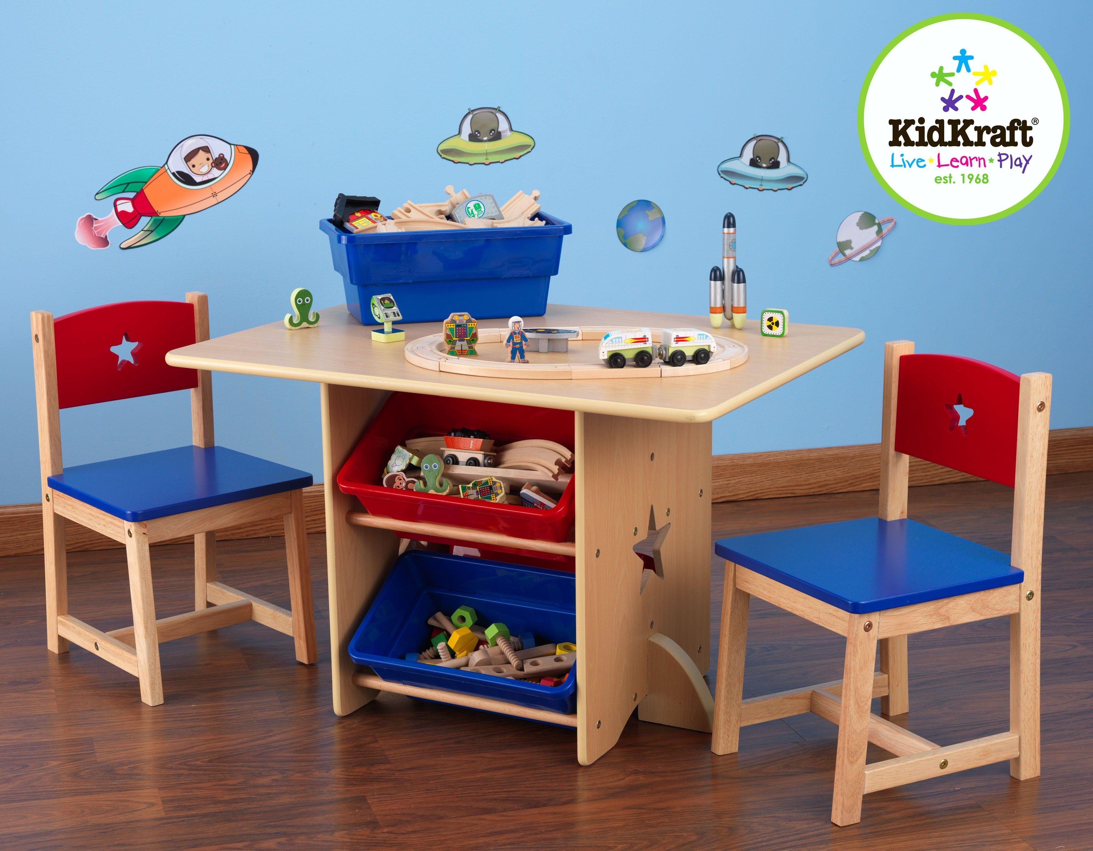 Tafel Met 2 Stoelen Kinderen.Kidkraft Kindertafel En 2 Kinderstoelen Met Sterren