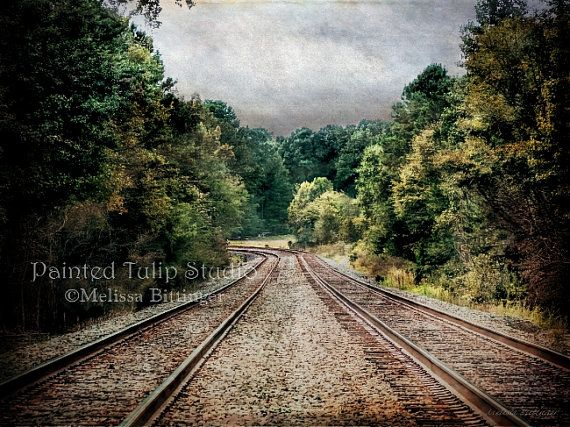 Railroad Train Tracks Country Landscape by PaintedTulipStudio