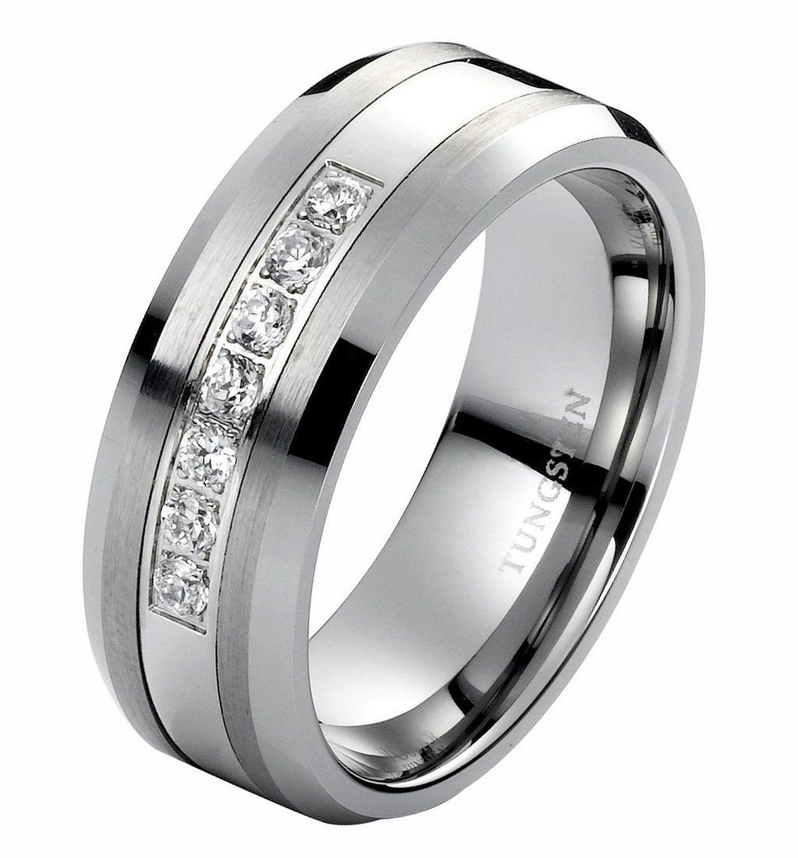 8mm Tungsten Carbide Ring with Brilliant Diamonds Mens