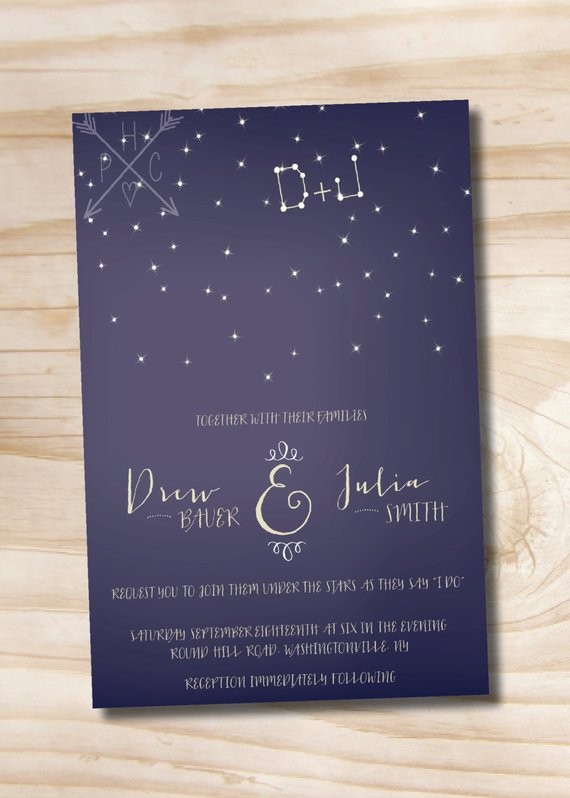 Under The Stars Wedding Invitation Response Card Rsvp Invitation