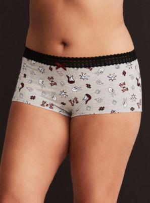 741809455 Rock  N Roll Print Boyshort Panty in Black