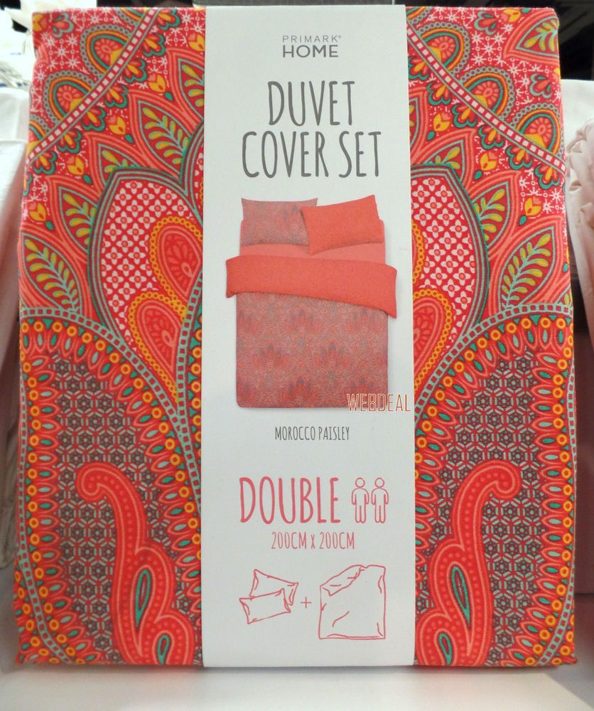 Paisley Primark Single Double King Duvet Cover Set Size Case Bedding Peach C