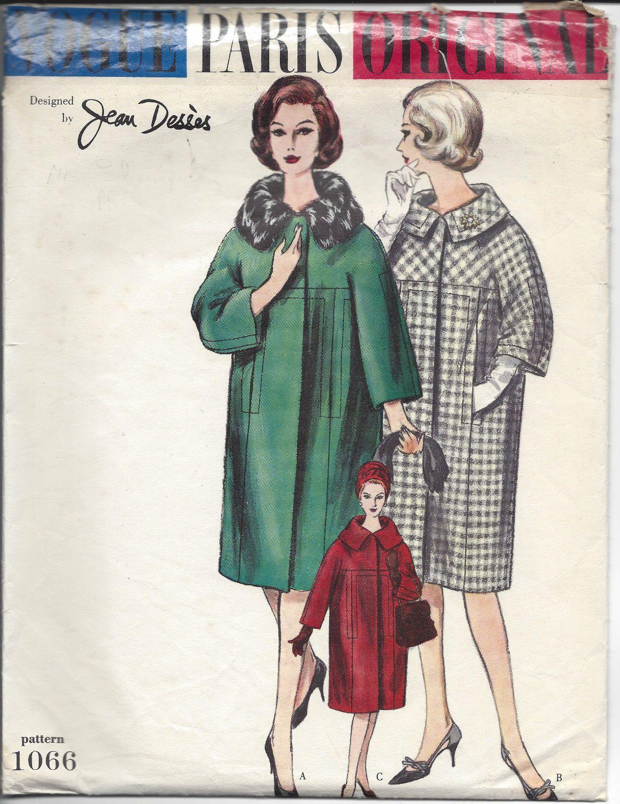 https://www.ebay.at/itm/1950s-vintage-vogue-schnittmuster-B34-Mantel ...