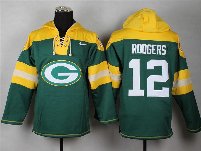 NFL Green Bay Packers  12 Aaron Rodgers Hockey Style Pullover Hoodies New ac52661a0
