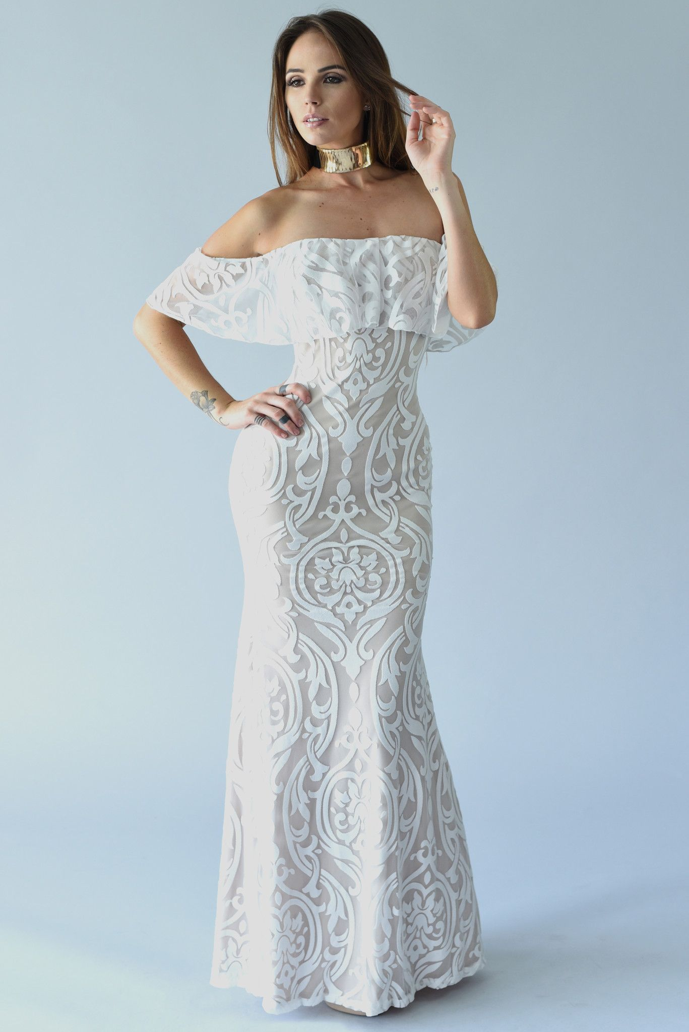 Ruffle Off Shoulder Lace Maxi Dress - Off White | Products ...