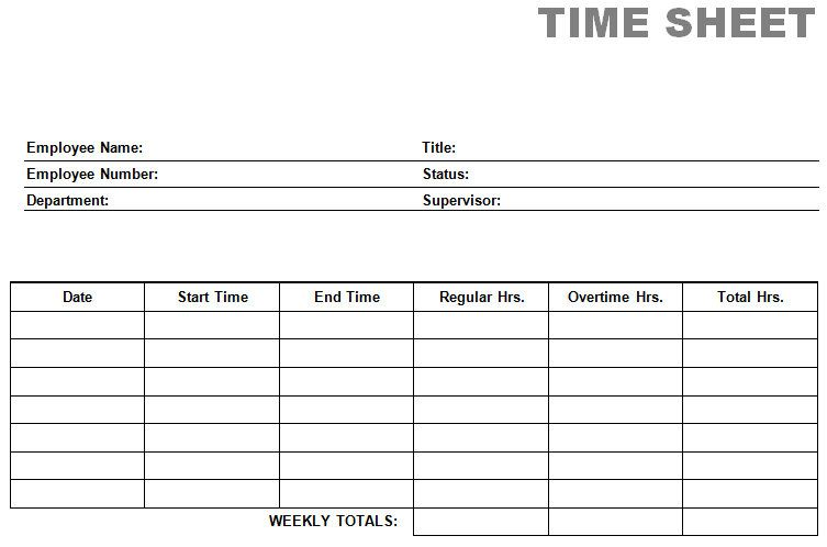 Time Cards Card Free Printable Weekly Simple Templates Employee