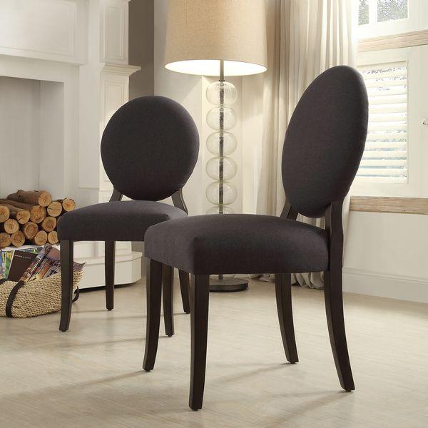 INSPIRE Q Paulina Dark Grey Fabric Round Back Dining Chair (Set of ...