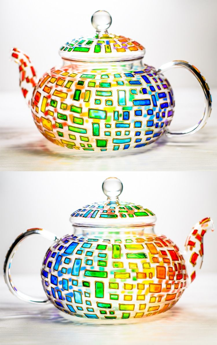 Colorful glass teapot personalized wedding gift for