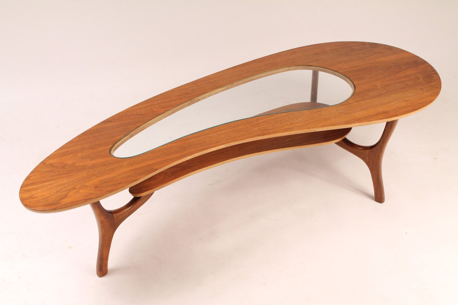 1960 walnut coffee table kidney shaped with center glass