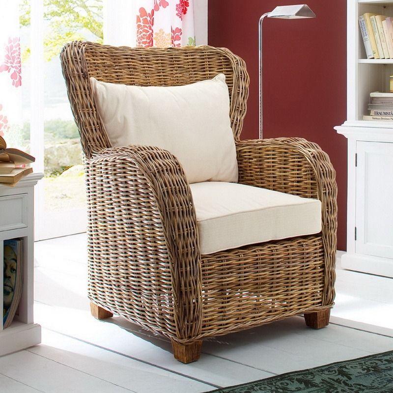 Gabby coastal wicker wingback accent chair furniture
