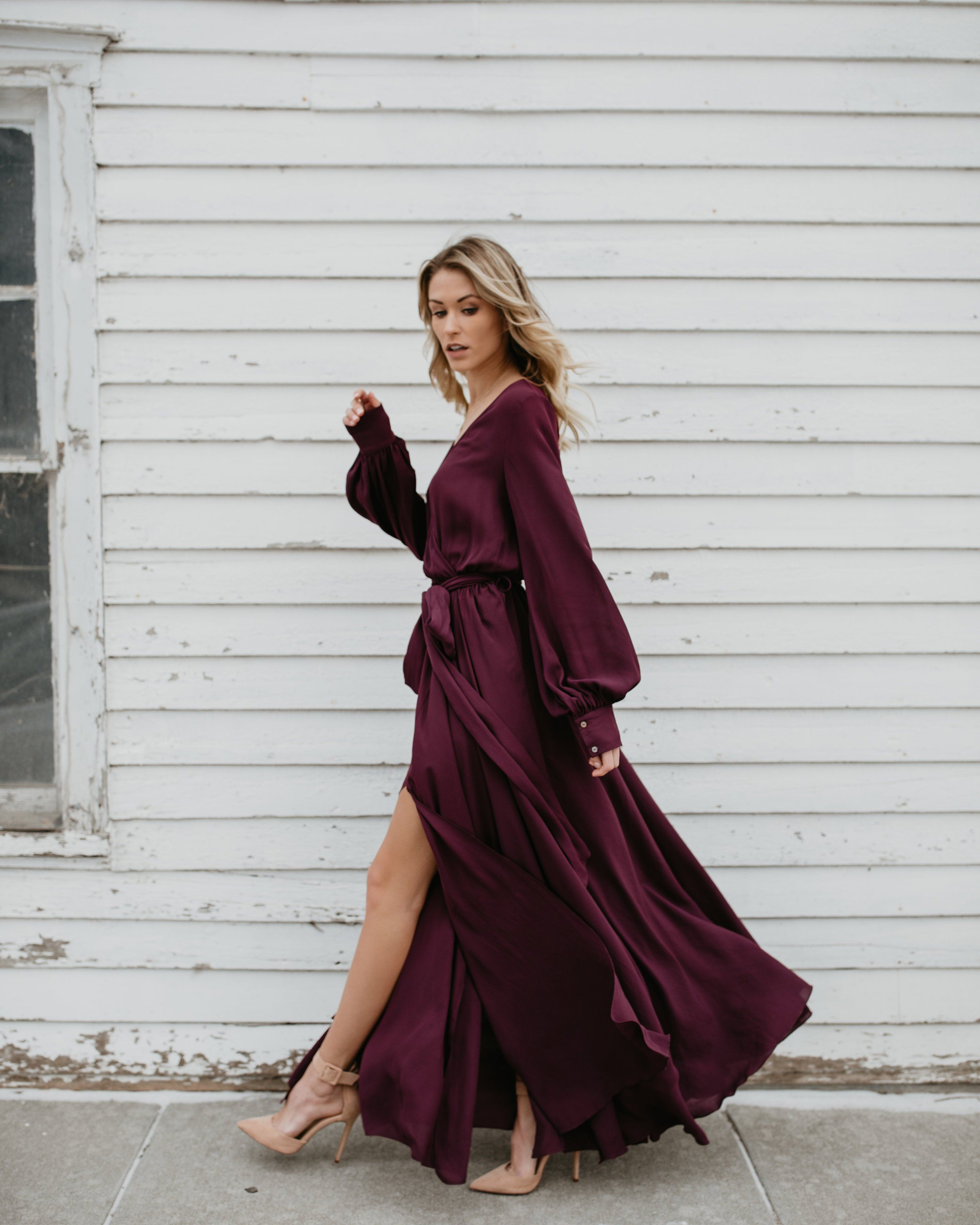 3dc04bf27af3 Long Sleeve Diana Maxi Dress - Wine Long Sleeve Flowy Dresses
