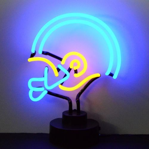 Blue Football Helmet Neon Table Top Sculpture