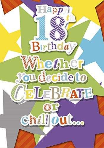 Vibrance Age 18 Unisex Handcrafted Birthday Card Big Br 18th