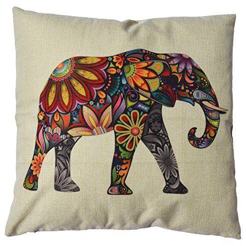 "WayHomeDecor Cotton Linen Decorative Throw Pillow Case Cushion Cover Cute Elephant 18 ""X18 "" WayHomeDecor http://www.amazon.com/dp/B00NBZ8Q0W/ref=cm_sw_r_pi_dp_WYaNwb0FN6GD0"