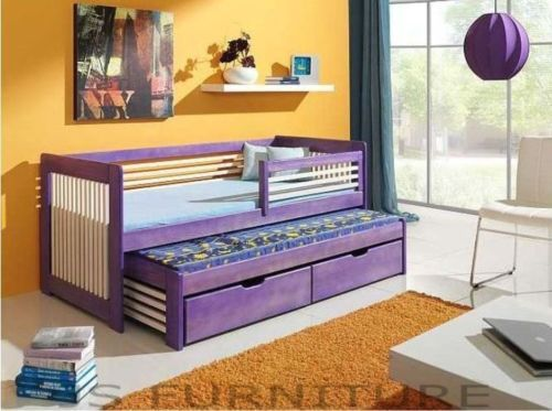 Single Bed With Pull Out Guest 2in1 Mattress Childrens Furniture Js32