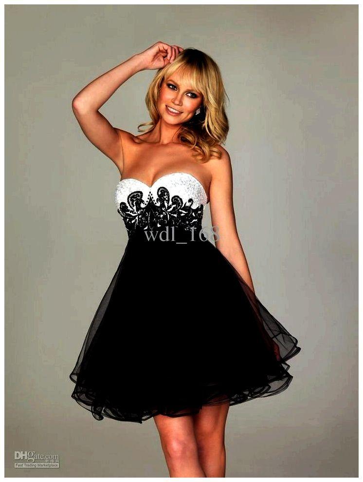 9803ce77b Vuelos cortos vestidos de blanco y negro de fiesta - fiesta de graduación  de encaje (prom blanco negro