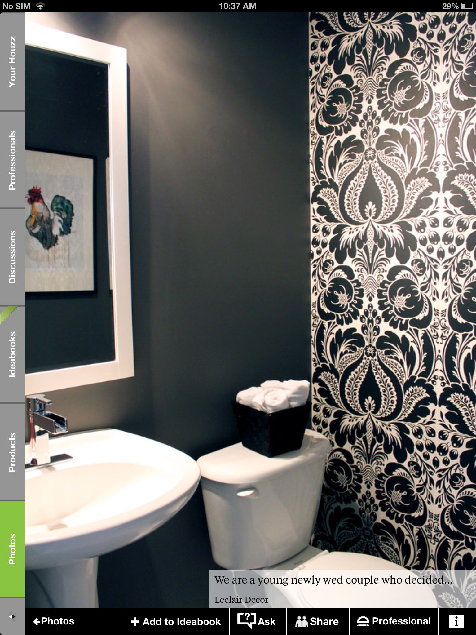 Black And White Wallpaper In A Powder Room Wallpaper Accent Wall Bathroom Powder Room Small Powder Room Design