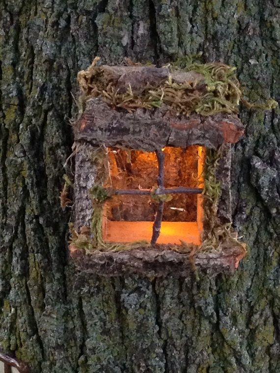 Magical lighted fairy window fairy tree fairy doors and for How to make illuminated tree stumps